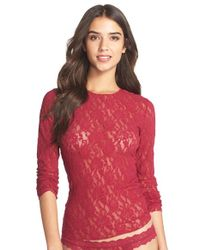 Hanky Panky - Red Long Sleeve Lace Tee - Lyst