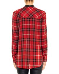 Vince - Red Leather-trim Plaid Shirt - Lyst