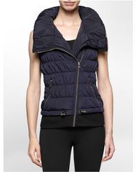Calvin Klein | Blue White Label Performance High Collar Asymmetrical Zip Puffer Vest | Lyst