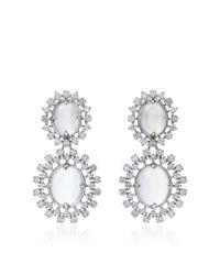 Paul Morelli - Metallic Oval Cabochon Mixed Diamond Cluster Double Dangle Earrings - Lyst