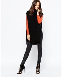 Daisy Street - Black Roll Neck Tunic With Side Splits - Lyst