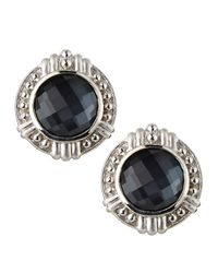Judith Ripka | Black Vintage Hematite Doublet Button Earrings | Lyst
