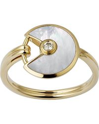 Cartier | Metallic Amulette De 18ct Yellow-gold, Mother-of-pearl And Diamond Ring | Lyst
