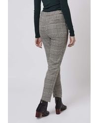 TOPSHOP - Black Tall Blurred Check Cigarette Trousers - Lyst