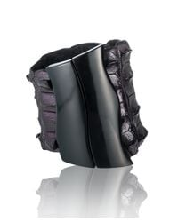 Nada Sawaya | Red J16 - Crocodile Cuff With Magnetic Closure - Metallic Bordo | Lyst