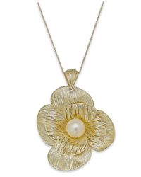 Macy's | Metallic Cultured Freshwater Pearl Flower Pendant Necklace In 18k Gold Over Sterling Silver (8mm) | Lyst