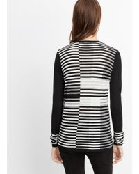 VINCE | White Wool Blend Intarsia Stripe Crew Neck Sweater | Lyst
