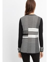 Vince - White Wool Blend Intarsia Stripe Crew Neck Sweater - Lyst