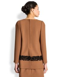 Dolce & Gabbana Brown Lace Applique Wool Crepe Top