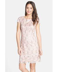 Alex Evenings | Pink Tiered Lace Sheath Dress | Lyst