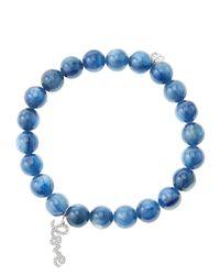 Sydney Evan - Blue 8mm Kyanite Beaded Bracelet with 14k White Golddiamond Love Charm Made To Order - Lyst