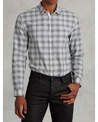 John Varvatos | Black Cotton Plaid Shirt for Men | Lyst