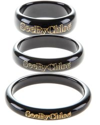 See By Chloé | Black Stack Of Three Bangles | Lyst
