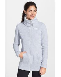 The North Face - Gray 'lunabrooke' Sweater Jacket - Lyst