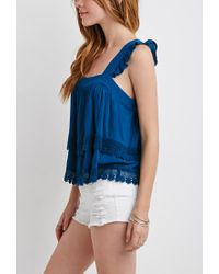 Forever 21 | Blue Crochet-trimmed Flounce Top | Lyst