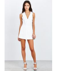 Silence + Noise - White Deep-v Skirted Romper - Lyst