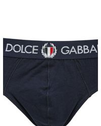 Dolce & Gabbana - Blue Italian Crest On Cotton Briefs for Men - Lyst