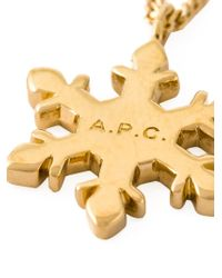 A.P.C. - Metallic Snowflake Pendant Necklace - Lyst