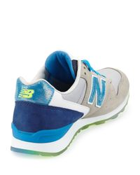 New Balance - Blue 696 Metallic Detailed Leather Trainer - Lyst