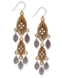 Lucky Brand | Metallic Two-tone Openwork Linear Earrings | Lyst