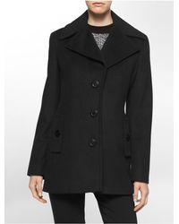 Calvin Klein | Black White Label Single Breasted Peacoat | Lyst