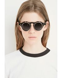 Forever 21 | Black Flip-up Round Sunglasses | Lyst