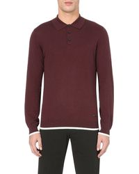 Armani | Purple Contrast-trim Knitted Polo Jumper for Men | Lyst