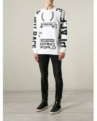 Love Moschino | White Racing Symbols Print Sweatshirt for Men | Lyst