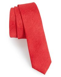 TOPMAN | Red Slub Tie for Men | Lyst