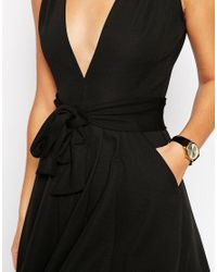 ASOS | Black Midi Dress In Texture With Plunge Neck And Tie Belt | Lyst