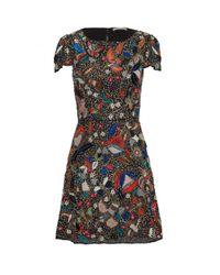 Alice + Olivia - Ellen Embellished Dress - Black Multi - Lyst