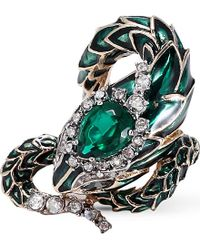 Roberto Cavalli | Green Swarovski Crystal-embellished Serpent Ring | Lyst