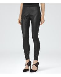 Reiss - Black Carrie Leather Leggings - Lyst