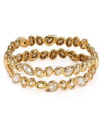 Alexis Bittar - Metallic Moonlight Golden Stacked Crystal Bracelet - Lyst