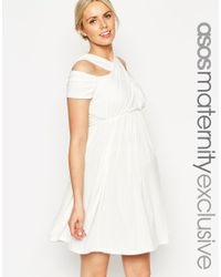 ASOS - Natural Skater Dress With Cross Over Cut Out Neck - Lyst