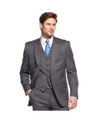 Lauren by Ralph Lauren - Gray Charcoal Solid Vested Suit  for Men - Lyst