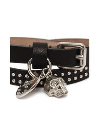 Alexander McQueen | Black Studded Leather Double Wrap Skull Bracelet | Lyst