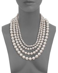 Majorica | 8mm-14mm White Pearl & Sterling Silver Nested Triple-strand Necklace | Lyst