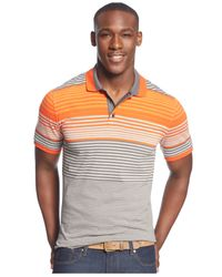 Sean John - Gray Classic Striped Polo for Men - Lyst