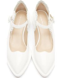 Simone Rocha | White Patent Leather Clear Heel Mary Janes | Lyst