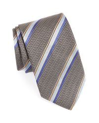 David Donahue | Gray Stripe Silk Tie for Men | Lyst
