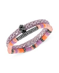 Steve Madden | Hematitetone Purple Stretch Bracelet Set | Lyst