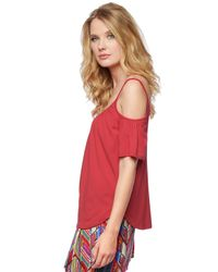 Ella Moss | Red Bella Cold Shoulder Top | Lyst