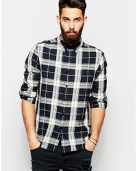 ASOS - Black Check Shirt With Neps In Long Sleeve for Men - Lyst