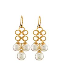 Majorica | 18k Vermeil White Pearl Chain Link Earrings | Lyst