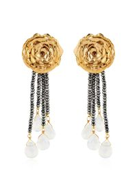 Leivan Kash - Yellow Rose Hematite Earrings - Lyst