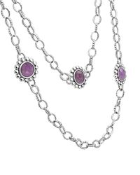Lagos Purple Maya Silver Charoite Station Necklace