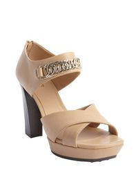 Tod's - Natural Nude Leather Chain Link Heel Sandals - Lyst