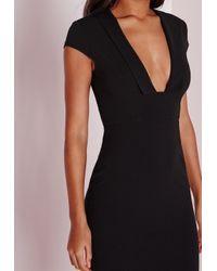 Missguided - Crepe Cap Sleeve Midi Dress Black - Lyst
