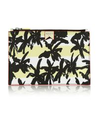 KENZO - Yellow Palm Treeprint Faux Texturedleather Pouch - Lyst